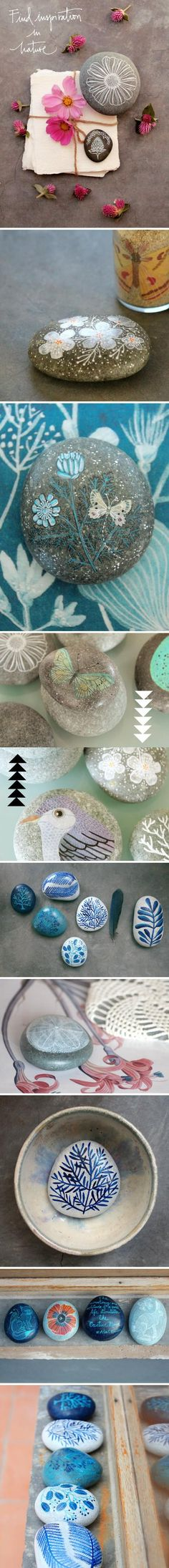 Rock painting. could be used as a paper weight, or as bookends if you had large enough rocks. Love painted rocks!