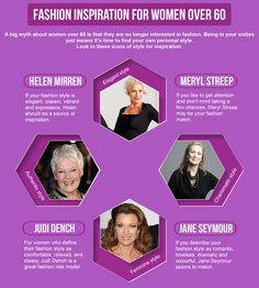 Fashion Inspiration for Women Over 60 - Women in their sixties are finding their own personal style. Head to https://lindascoffin.wordpress.com/2016/10/21/how-to-look-fabulous-at-60/ for some tips and trends to find your best style.