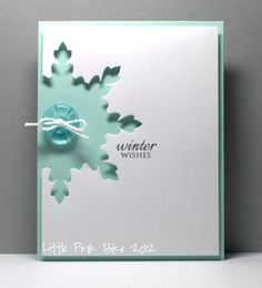 Hmmm, could I do this with the snowflake punch I have? Little Pink Bike: CAS[e] this Sketch! Diy Christmas Cards, Christmas Paper, Xmas Cards, Handmade Christmas, Holiday Cards, Christmas Letters, Cute Cards, Diy Cards, Stampin Up Weihnachten