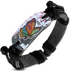 Fashion Colorful Butterfly Watch Style Adjustable Black Leather Bracelet FBK946