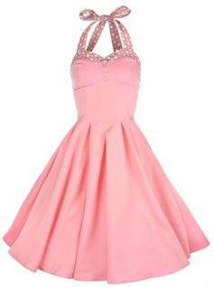 bd23a5e9643a Amazon.com  Lindy Bop  Carola  Vintage 1950 s Rockabilly Halter Neck Swing  Jive Party Dress (4XL