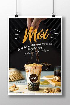 Milk tea poster for summer new flavor brown sugar and honey Bubble Tea Menu, Bubble Tea Shop, Bubble Milk Tea, Food Poster Design, Menu Design, Food Design, Restaurant Poster, Coffee Shop Logo, Tea Brands