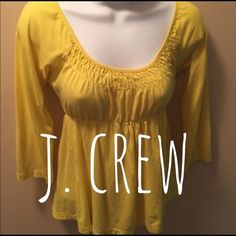 J.crew Cute scoop neck shirt. 3/4 sleeves. Yellow. Extra small. Very nice for summer. Lightweight. J. Crew Tops Tees - Long Sleeve