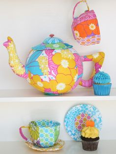 Tea Set : Sewing pattern for teapot cups and saucers : PDF instant download
