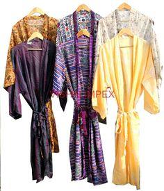Silk Sari Kimono Bathrobe Vintage Beach Wear Cover Up Jacket Wholesale Lot 10Pcs #Handmade #Kimono