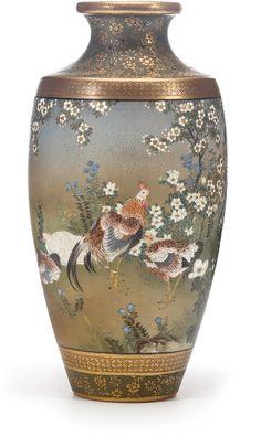 A small Satsuma vase Meiji period (late century) Japanese Vase, Japanese Porcelain, Japanese Pottery, China Porcelain, Ceramic Pottery, Pottery Art, Satsuma Vase, Painted Flower Pots, Oriental Furniture