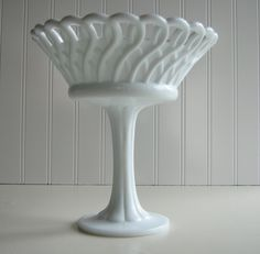 Milk Glass Compote, Wedding Tablesetting, Centerpiece, Open Weave Loop. $35.00, via Etsy.