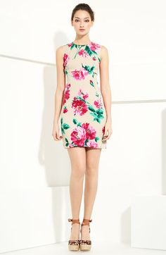 Dolce&Gabbana Floral Print Stretch Charmeuse Shift Dress