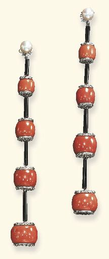 A PAIR OF DIAMOND, CORAL AND ENAMEL EAR PENDANTS