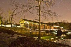 visit Perrine's Covered Bridge (near New Paltz) at night