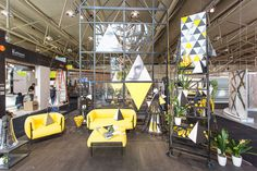 +Geometry Display+ The repetition of triangles in different ways attracted many viewers at the Interior Design Show in Toronto 2014 (including me). Interior Design Shows, Yellow Sofa, Coworking Space, Triangles, Color Trends, Toronto, Grey Scale, Design Inspiration, Geometry