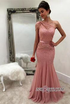 Cheap prom dresses Buy Quality pink tulle prom dress directly from China prom dresses Suppliers: Modest One Shoulder Mermaid Long Beaded Sequins Blush Pink Tulle Prom Dresses 2017 Robe de Soriee Strass Evening Dress Cheap Prom Dresses 2017, Junior Bridesmaid Dresses, Cheap Prom Dresses, Formal Dresses, Formal Prom, Dresses Dresses, Petite Dresses, Trumpet Dress Prom, Maxi Dresses