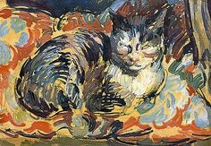 "Duncan Grant - The Cat, ""Opussyquinusque,"" 1932. Comprendo que alos pintores les encanten. Son el modelo ideal."