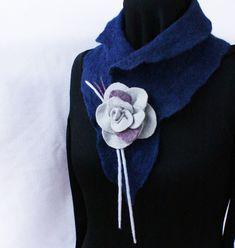 Wool Felted Scarf Dark Navy Blue Grey Flower Unique Design Neckwear Collar Scandinavian wool Eco Winter Spring Fashion One Of A Kind Gift Grey Flowers, Felt Flowers, Green Soap, Felted Scarf, Dark Navy Blue, Blue Wool, Very Lovely, Collar Necklace, Fiber Art