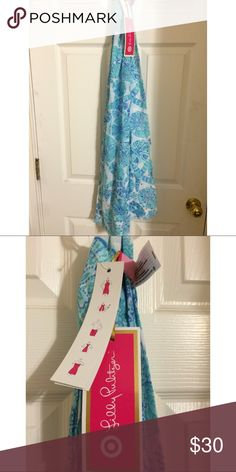 Lilly Pulitzer Blue Scarf Sarong Shells & Starfish See tag for multiple ways to wear. Has luminescent sequins in spots at bottom to sparkle. Lilly Pulitzer for Target Accessories Scarves & Wraps