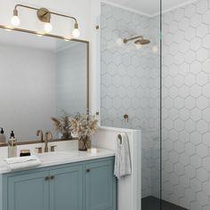 Hall Bathroom, Upstairs Bathrooms, Bathroom Renos, Guest Bathroom Remodel, Condo Bathroom, Bathroom No Window, Bathroom Shower Tiles, Bathroom Accent Wall, Small Bathroom Renovations