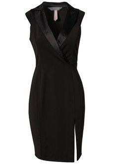 Laconic V Neck Sleeveless Black Mini Dress for Work