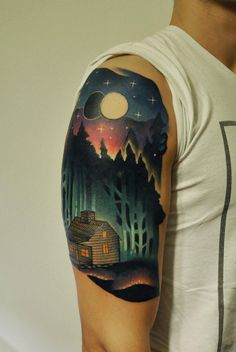 Cabin In The Woods Half Sleeve Tattoo. Ink. Marcin Aleksander Surowiec | A R T N A U