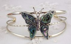 Alpaca Mexican Silver Abalone Shell Butterfly Cuff Bracelet Fashion Jewelry NEW #Unbranded #cuff