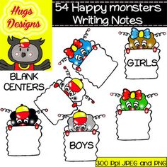 Happy Monsters Writing Notes Cliparts Set for Personal and