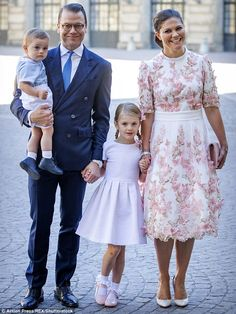 Birthday girl: Princess Victoria with husband Daniel and their children Estelle and Oscar