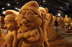Sand smurf: Belgian cartoon favourites the smurfs are recreated in amazing detail for one of the exhibits. An incredible 10,000 tons of sand were needed for this project, which is the biggest festival of that kind in the world