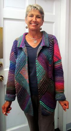 Fibermania's mitred jacket - could do with a little shaping or be made in a yarn which drapes but otherwise beautiful.