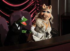 Kermit in a bespoke Brooks Brothers Fitzgerald Tux (the lovely Miss Piggy in Zac Posen)