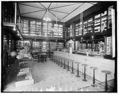 """c.1927 """"Drug Store with Soda Fountain, Detroit Michigan"""" """"(Antique,Vintage,Old,B&W) Reproduction Photograph-Photo-Print. Frame it!"""