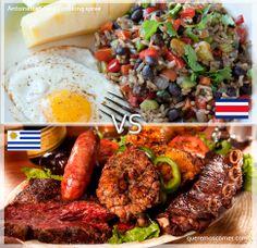 Costa rica vs Uruguay. Quien sera el ganador entre estos dos hermanos latinoamericanos, el gallo pinto costarricense o el asado grill uruguayo.
