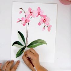 Learn How To Paint Pink Watercolor Orchids On The Snowberry , lernen sie, wie man rosa aquarell-orchideen auf der snowberry malt Learn How To Paint Pink Watercolor Orchids On The Snowberry , Watercolor Flowers Tutorial, Watercolour Tutorials, Flower Tutorial, Floral Watercolor, Water Colour Painting Tutorial, Flower Water Color Painting, How To Paint Roses, Simple Flower Painting, How To Paint Flowers
