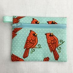 Cardinal Bird Zipper Coin Purse, Earbud, Credit Card Pouch by NancyPKdesigns on Etsy
