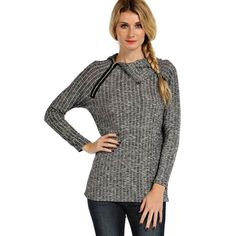 """Charcoal Fling"" Asymmetric Zip Sweater Top Grey, charcoal long sleeve top with an asymmetric zip at the collar. Keep cozy with this chic beauty. Runs true to size. Brand new without tags. Absolutely no trades. Bare Anthology Tops"