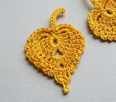 3 crochet apliques de hojas hojas de abedul oro por CaitlinSainio
