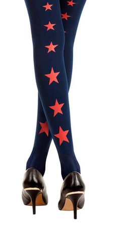 Are you a Fashion STAR? Upgrade your outfits with the Superstar Line of Stars Print Tights Blue #TrendyLegs #Zohara $36 + Free Shipping