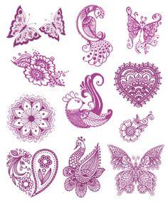 Violet Henna Tattoo Assortment #t4aw #tattooforaweek #temporarytattoo #faketattoo #violet #henna #tattoo #assortment
