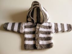panpancrafts: Tutorial: simple crochet striped hooded baby jacket / Simple Striped Baby Hoodie (crochet)