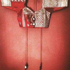 Recrafting old art... #handmadeinindia #kanchali #blouse #choli #embroidered #red #gold #backless #indiancostumes #wedding #festive #bridal #dhruvsingh #vintage #silk #picoftheday