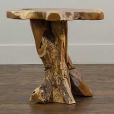 Bring a piece of nature into your home decor with this unique free-form coffee table created from a reclaimed block of teak wood. This rustic coffee table is expertly handcrafted and features a natura Indoor Outdoor Furniture, Outdoor Living, Log Furniture, Furniture Design, Driftwood Furniture, Furniture Outlet, Online Furniture, Sofa End Tables, Rustic Coffee Tables
