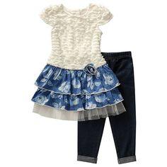 Toddler Girl Youngland Floral Eyelash Tunic & Jeggings Set