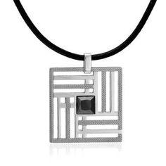 Chaîne de cou homme, acier, cuir, 0.00g, Style moderne - Manège à Bijoux