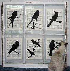 Music / bird silhouette window panes