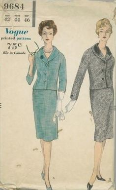 An original ca. 1959 Vogue pattern 9684.  Misses Suit. The easy fitting jacket has buttoned extension band closing below the shawl collar with optional top collar. Long sleeves with buttoned vent closing and three quarter length sleeves. The slim skirt has a center-back inverted pleat.