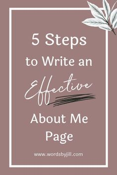 Writing about yourself for your about page is one of the hardest things you will have to do when building your personal brand online. Where do you even start? What does your audience want to know? I've broken it down into 5 easy steps that you can use to write your about page on your website whether you're a blogger, a business owner, or need to write about your entire team! Best Entrepreneurs, About Me Page, Writing About Yourself, Web Design Tips, Self Motivation, Copywriting, How To Stay Motivated, Words Of Encouragement