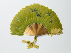 Germany and America Fan by George Keiswetter for Allen Fan Company Painted feathers, wood sticks, silk ribbon RISD Museum Antique Fans, Vintage Fans, Hand Held Fan, Hand Fans, Old Fan, Wood Sticks, Feather Painting, Paper Fans, Belle Epoque