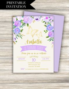 """Purple Butterfly Birthday Invitation Download: """"BUTTERFLY INVITATION"""" lavender, gold, butterfly, garden, floral, shabby, watercolor, invite Fairy Invitations, Butterfly Invitations, Birthday Invitations Kids, Printable Baby Shower Invitations, Baptism Invitations, Invitation Ideas, Invites, Wedding Invitations, Butterfly 1st Birthday"""