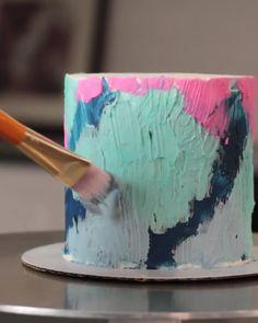 Cake Decorating Frosting, Cake Decorating Designs, Cake Decorating Techniques, Cake Decorating Tutorials, Decorating Ideas, Watercolor Cake Tutorial, Cake Painting Tutorial, Buttercream Designs, Artist Cake