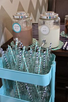 Milk and cookies bar, use Starbucks fraps for vintage milk bottles