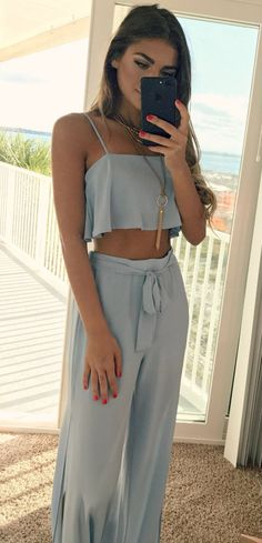 summer outfits Grey Crop Top + Grey Pants