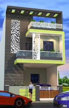 44 Trendy House Front Design Indian You are in the right place about home design grey Here we House Outer Design, Bungalow House Design, House Front Design, Small House Design, Home Styles Exterior, Modern Exterior House Designs, Modern House Design, Exterior Design, House Plans With Pictures